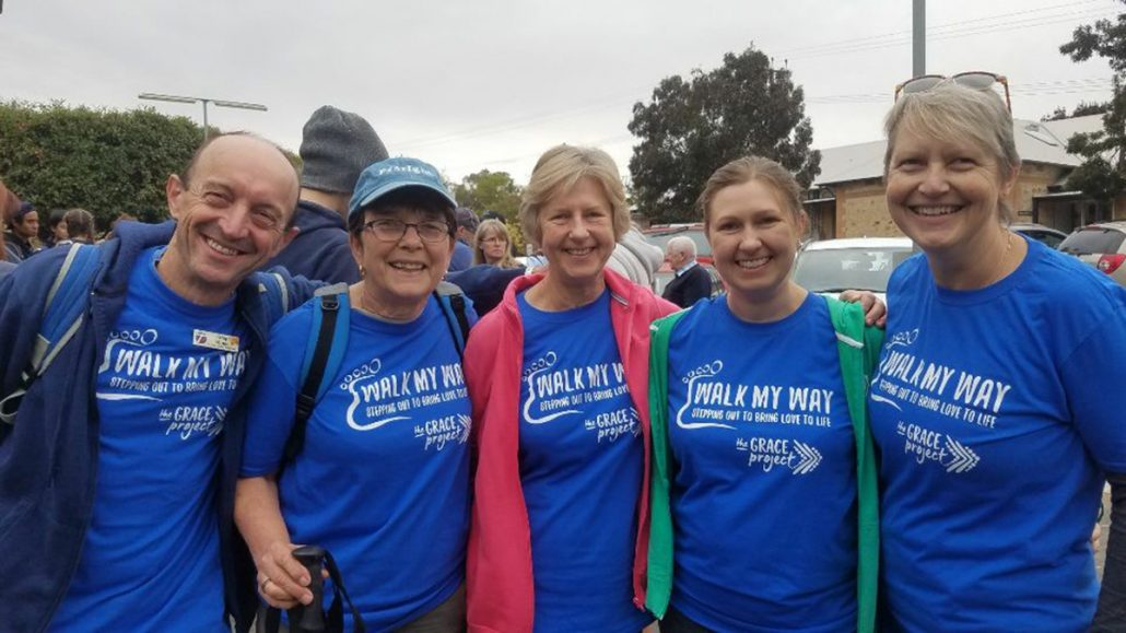 """Walk My Way"" participants. L to R: Greg Minge, Jenny Wood, Margaret Reimann, Heidi Schultz and Monica Schiller."